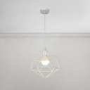 Vintage Open Bulb Hanging Light Metal Suspended Light with Geometric Metal Frame