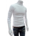 Men's Slim Fitted Basic High Neck Long Sleeve Solid T-Shirt