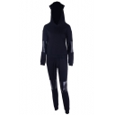 Long Sleeve PU Patched Hoodie Drawstring Waist Pants Sports Black Co-ords