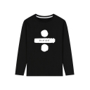 Letter DIVIDE Printed Long Sleeve Round Neck Loose Tee for Guys