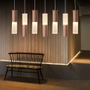 Oak Cylinder LED Pendant Light Nordic Style Acrylic Shade 1-LED Hanging Pendant Lights
