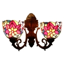 Stained Glass Floral Wall Lighting Tiffany Rustic Double Heads Wall Mount Fixture in Multicolor