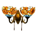 Stained Glass Sunflower Wall Lamp Tiffany Style 2 Bulbs Wall Light in Multicolor for Foyer