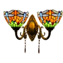 Double Heads Dragonfly Wall Lighting Tiffany Style Stained Glass Wall Mount Light for Corridor