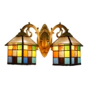 Double Heads Lantern Shade Wall Light Tiffany Style Rippled Glass Wall Sconce in Multicolor