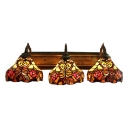 Triple Light Flower Wall Light Tiffany Victorian Stained Glass Wall Lamp in Multicolor