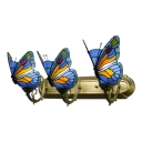 Stained Glass Butterfly Lighting Fixture Tiffany Retro Style 3 Lights Wall Lamp in Blue/Red