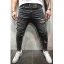 Hot Sale Dark Gray Mid Waist Zipper Fly Ripped Jeans