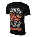 Fancy Black Cotton Graphic Print Round Neck Short Sleeves Summer T-shirt