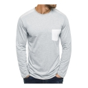 Color Block Pocket Crew Ne3ck Long Sleeve Regular Tee