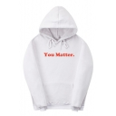 Letter YOU MATTER Printed Long Sleeve Leisure Unisex Sports Hoodie