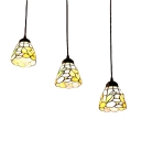 Stained Glass Floral Pendant Light Tiffany Style 3 Heads Suspended Lamp in Black Finish