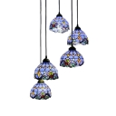 Tiffany Victorian Round Canopy Drop Light Stained Glass 5 Lights Hanging Lamp in Multicolor