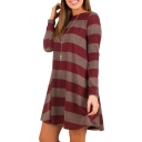 Trendy Long Sleeve Round Neck Striped Mini Swing Dress