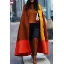 Leisure Winter's New Fashion Colorblock Button Embellished Loose Coffee Cloak Longline Cape