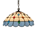 Tiffany Style Dome Ceiling Pendant Light Glass 1 Light Drop Light in Dark Blue/Green/Light Blue/Pink