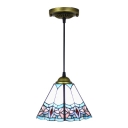 Trapezoid Suspended Light Tiffany Style Stained Glass 1 Head Drop Light in Blue for Bedroom