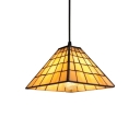Pyramid Suspended Light Craftsman Tiffany Amber Glass 1 Light Ceiling Pendant Lamp