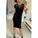 Sheer Patch Short Sleeve Round Neck Midi Bodycon Black Dress