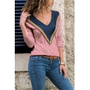 V-Neck Colorblock Tape Front Long Sleeve Relaxed Fitted T-Shirt
