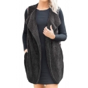 Chic Floral Patchwork Lapel Collar Open Front Sleeveless Warm Fluffy Fleece Vest Coat