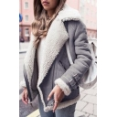 Winter's Trendy Notched Lapel Collar Long Sleeve Zip Up Warm Lambswool Jacket