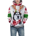 New Stylish Cartoon 3D Deer Dog Pattern Long Sleeve White Hoodie