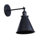 Simple Concise Cone Wall Lamp Steel Single Light Wall Sconce in Black for Bedside