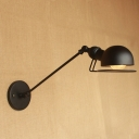 Dome Wall Light Fixture Loft Style Rotatable Metal Single Bulb Wall Sconce in Black