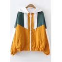 Stylish Long Sleeve Colorblock Zip Placket Elastic Hem Cuff Hooded Coat
