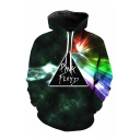 3D Long Sleeve Galaxy Letter Printed Black Hoodie