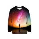 3D Fancy Galaxy Printed Crewneck Long Sleeve Pullover Loose Fit Sweatshirt
