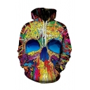 New Trendy 3D Skull Printed Long Sleeve Unisex Loose Fitted Hoodie