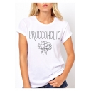 Cartoon Vegetable Letter BROCCOHOLIC Printed Short Sleeve Round Neck Cotton Tee
