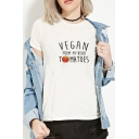 Funny Letter VEGAN FROM MY HEAD TOMATOES Printed Round Neck Short Sleeve Cotton T-Shirt