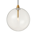 Ball Shaped Suspension Light Post Modern Style Clear Glass 1 Head Drop Light in Gold Finish