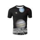 Men's Simple Short Sleeve Round Neck 3D Moon Pattern Black Tee
