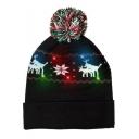 Christmas Series Deer Printed Pom Pom Embellished LED Black Hat