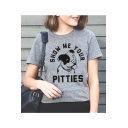Lovely Cartoon Pig Letter SHOW ME YOUR PITTIES Print Round Neck Short Sleeve Cotton T-Shirt