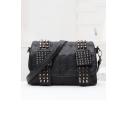 Hot Fashion Black PU Studded Embellished Skull Printed Crossbody Bag