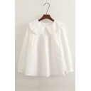 Chic Ruffle Hem Peter-Pan Collar Short Sleeve & Long Sleeve Loose Fitted Blouse