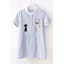 Cartoon Cat Embroidered Round Neck Short Sleeve Button Front Striped Blue Blouse