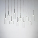 Clear Glass Cylinder Pendant Light Nordic Style Chrome Finish Single Light Hanging Lamp