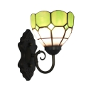 Mini Bowl Wall Sconce Industrial Tiffany Style Stained Glass Wall Light in Blue/Green