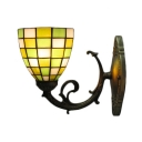 Mini Bowl Wall Sconce Simple Tiffany Style Stained Glass Wall Light in Beige for Balcony