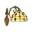 Tiffany Style Shelly Wall Sconce Stained Glass Wall Light in Multicolor for Bedroom