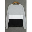 Autumn's New Trendy Long Sleeve Round Neck Colorblock Gray Sweatshirt