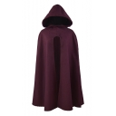 Elegant Split Front Plain Longline Burgundy Cape Coat