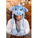 Hot Sale Ear Moving Jumping Cute Unicorn Printed Light Blue Hat