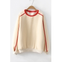 Contrast Trim Long Sleeve Round Neck Blouson Sleeve Apricot Loose Sweatshirt